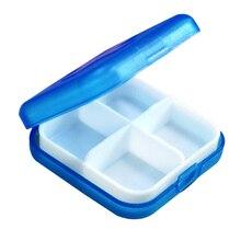 Nuevo 4 Pequeña Ranura de la Medicina Del Organizador Portátil Azul de Salud Caja de Almacenamiento Caja de Accesorios de la Tableta de 27