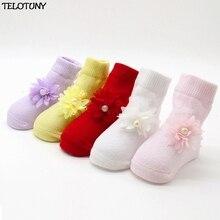 Модные удобные милые хлопковые носки с цветочным рисунком для маленьких девочек Теплые носки до щиколотки