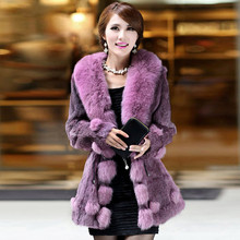 2016 Autumn and Winter Women s Genuine Real Rabbit Fur Coat with Fox Fur Collar Female