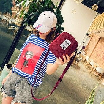 Teenage Girls Mini Shoulder Bags Corduroy Casual Crossbody Totes New Design Women Messenger Handbag Trendy Pink Color Bag messenger bag