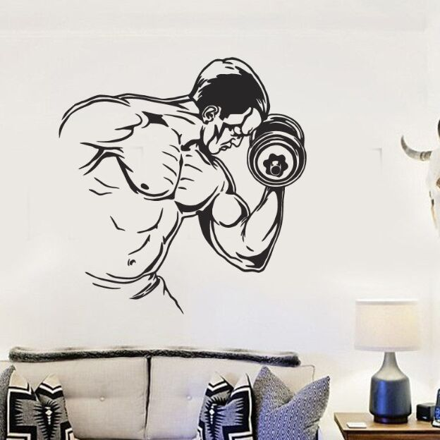 Sports Wall Mural Bodybuilding Man Vinyl Decal Gym Fitness Sticker Dumbbell Wallpaper Decor AY1023