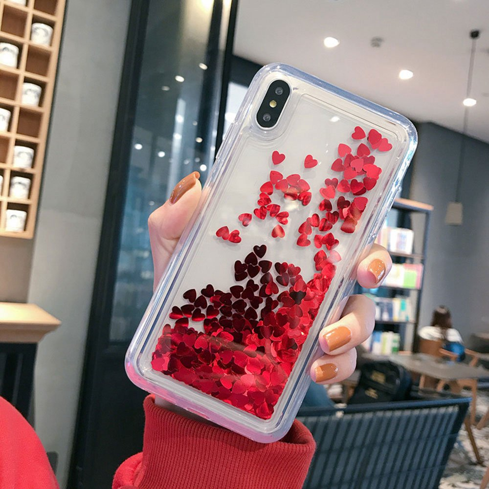 Quicksand Phone Case For iPhone 7 Plus 8 Plus X XS XR Xs MAx Case PC Cover For iPhone 7 8 6 6s 6 Plus 6s Plus Plain Glitter Case in Fitted Cases from Cellphones Telecommunications