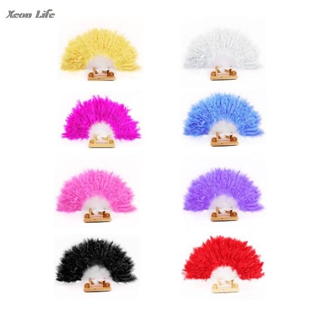 ZMHEGW Nice Feather Fan For Dance Props Hand Goose Feather Folding Fan Wedding