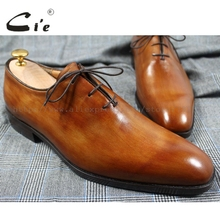 cie Plain Square Toe Custom Handmade Bespoke 100%Genuine Calf Leather Breathable men's leather Oxford  Dress Shoe Brown OX202