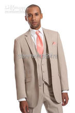 2016- Custom Made Beige Two Buttons Groom Tuxedos Best Man Notch Lapel Groomsmen Men Wedding Suits Bridegroom (Jacket+Pants+Tie