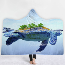 Turtles Hooded Blanket For Home Travel Picnic Cartoon 3D Printed Soft Fleece Wearable Warm Throw Adults Kids