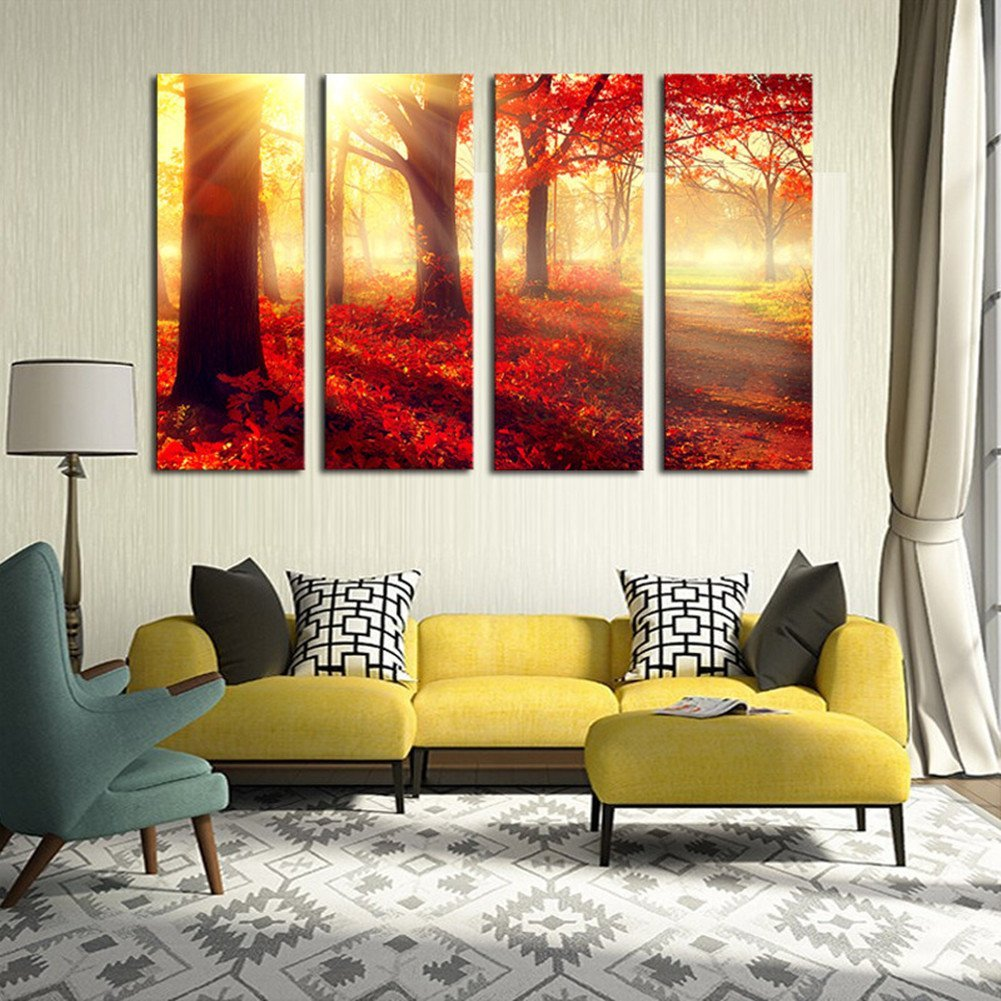 Bedroom wall art trees - Banmu Luxry Red Trees Wall Art Picture Modern Home Decoration Living Room Or Bedroom Canvas Print