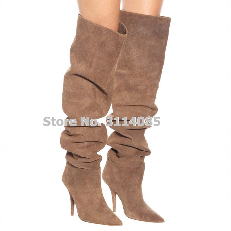 Women Apricot Suede Pointed Toe Loose Pleated Long Boots Over The Knee Dress Shoes Stiletto Heels Nightclub Stage Boots Dropship pleated cami knee length dress
