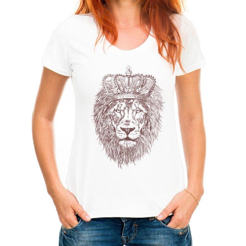 New Women Tshirt Animal art line design Jungle King Lion Printed Women t-shirt Cool style casual tops