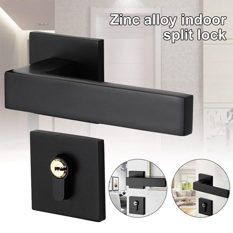 Black Mute Door Lock Set Reversal Door Lock Kit for 35-50mm Doors Zinc Alloy Handle LB88Black Mute Door Lock Set Reversal Door Lock Kit for 35-50mm Doors Zinc Alloy Handle LB88