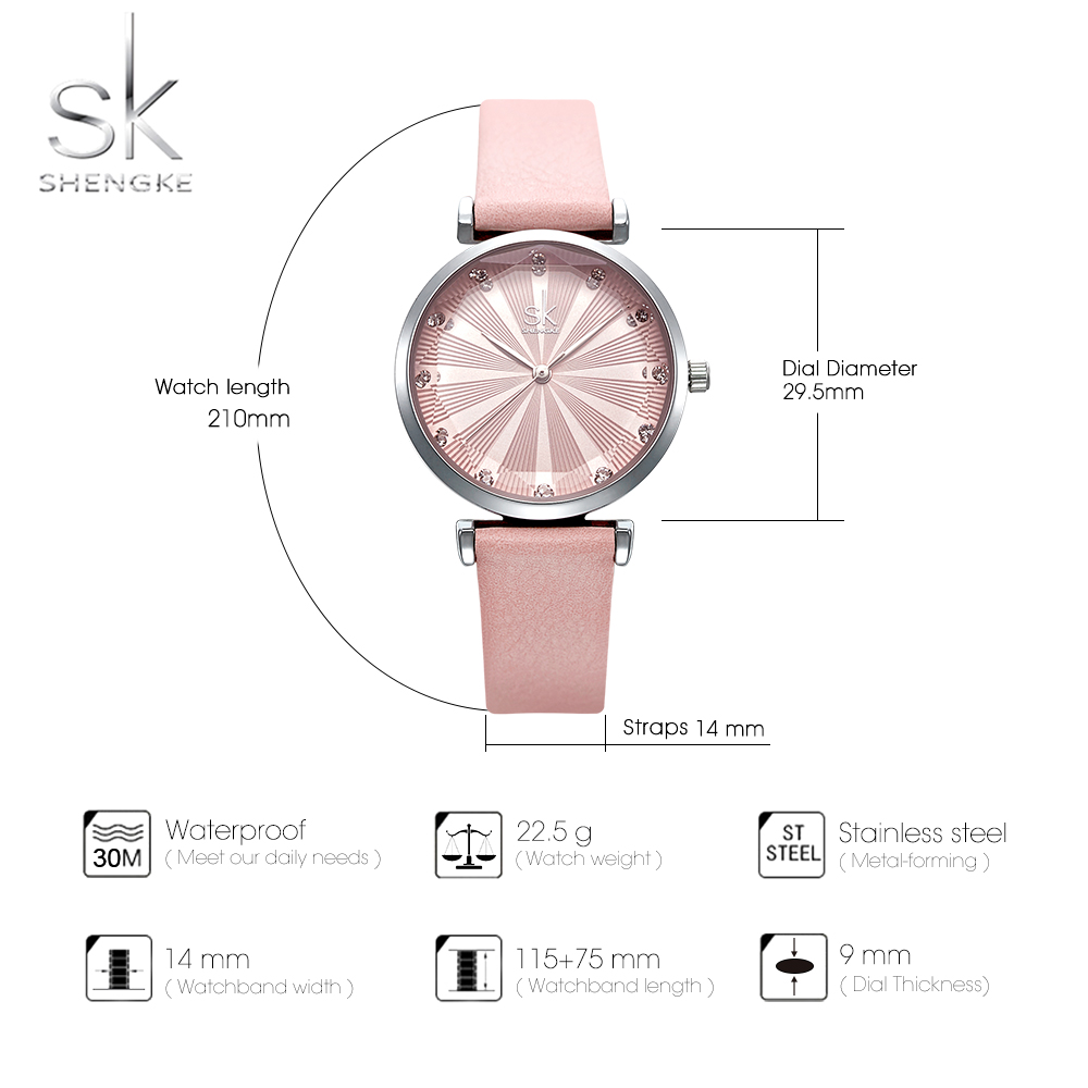 Shengke Women's Watches Luxury Ladies Watch Leather Watches For Women Fashion Bayan Kol Saati Diamond Reloj Mujer 2019