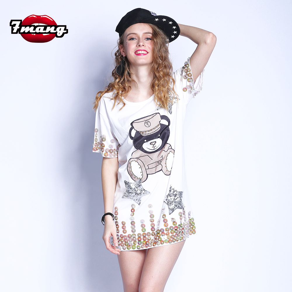7mang Official Store 7mang 2017 summer women street cute black white loose cartoon bear beading sequins t shirt casual comfortable tees