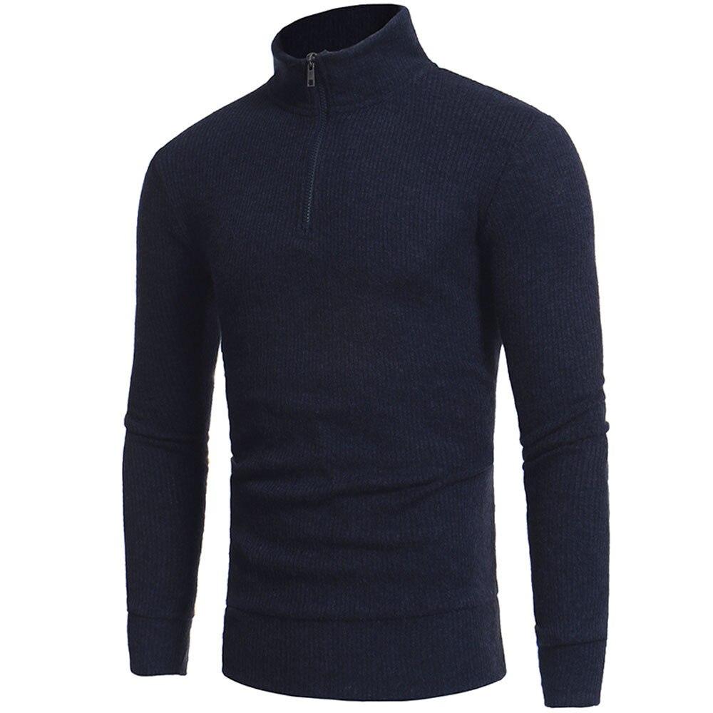 Man's Fashion Zipper Casual High-collar Men's Sweaters Tops  Winter Male Boy Warmer Cashmere Sweaters Men Knitwear Drop Ship