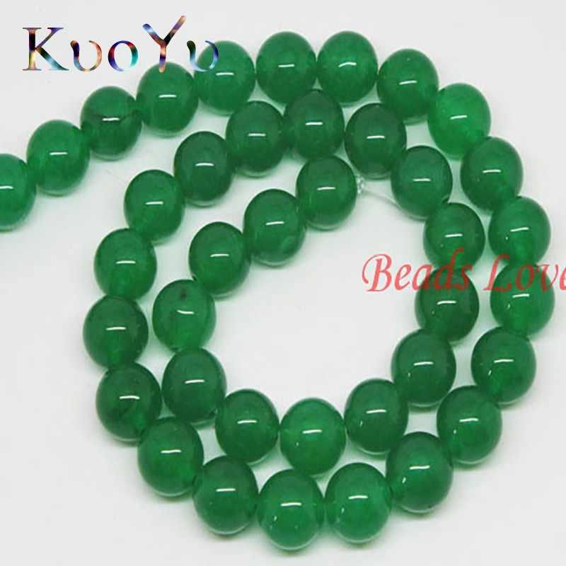 "AAA + Natural Dark สีเขียว Jades รอบหลวมหินลูกปัดสำหรับเครื่องประดับ 15.5 ""4/6/8 /10/12 มิลลิเมตรทำ DIY สร้อยข้อมือจี้สร้อยคอ"