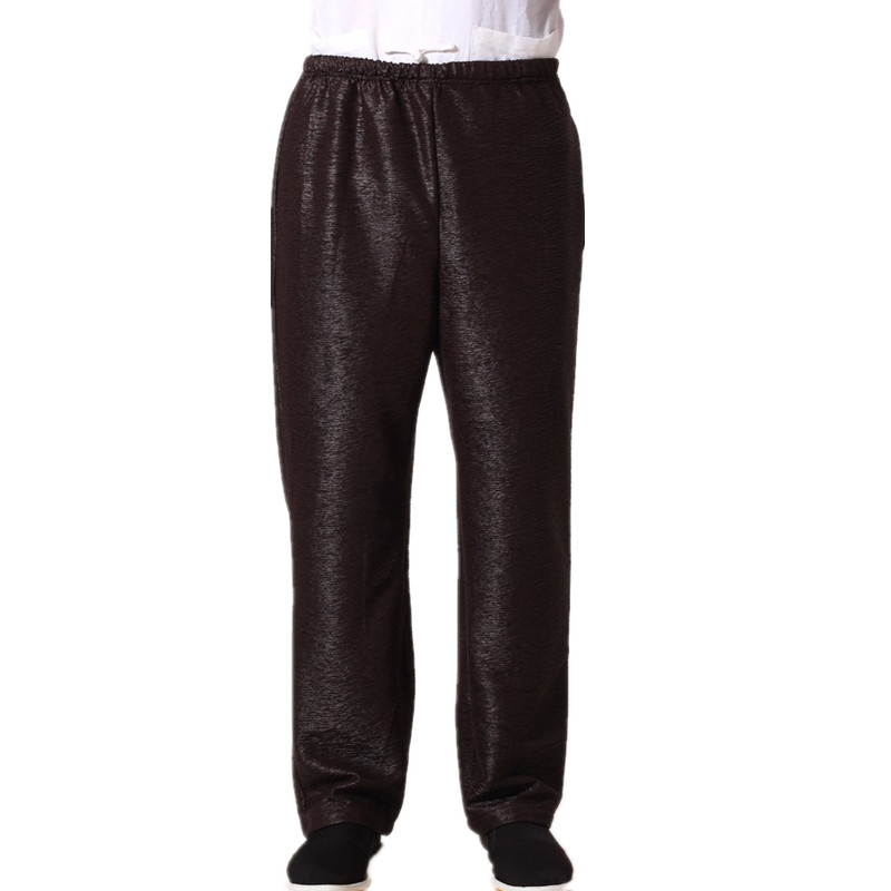 New Arrival Brown Chinese Mens Kung Fu Trousers Cotton Linen Pants Wu Shu Clothing Size S M L XL XXL XXXL MN007