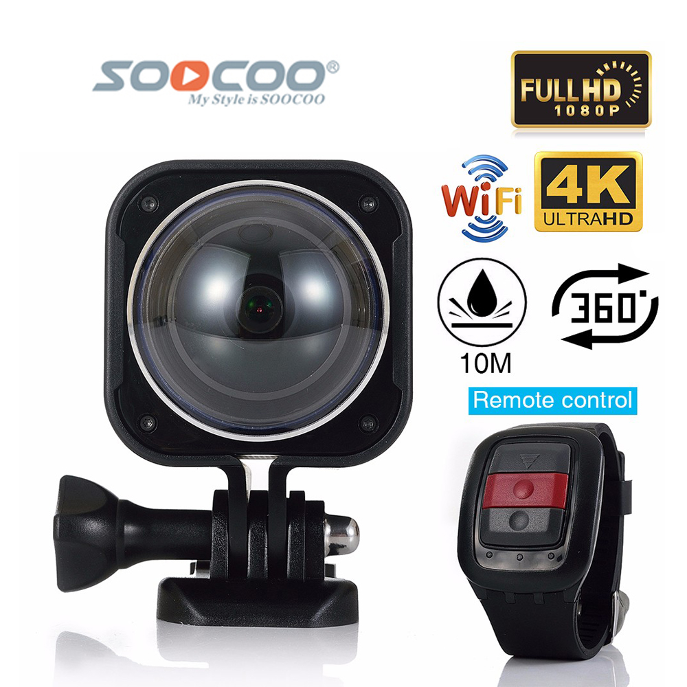 SOOCOO C-UBE360H WiFi 4K Waterproof Mini Outdoor Sports Action Camera 360 Wide-Angle Video Cam with Remote Controller VR Camera soocoo 360h wifi 360 degree panorama vr 4k camera 1080p 60fps full hd lcd screen mini sport action camera with remote controller
