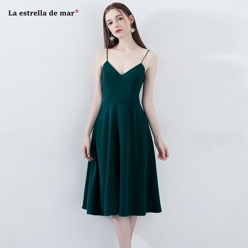 Robe demoiselle d'honneur2019 new chiffon sexy V neck A Line dark green   bridesmaid     dress   Tea Lengthvestido madrinha cheap