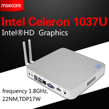 C1007u mini pc windows 10 computador desktop nettop intel celeron caixa de TV sistema barebone NUC Fanless HTPC HD Graphics 300 M wi-fi