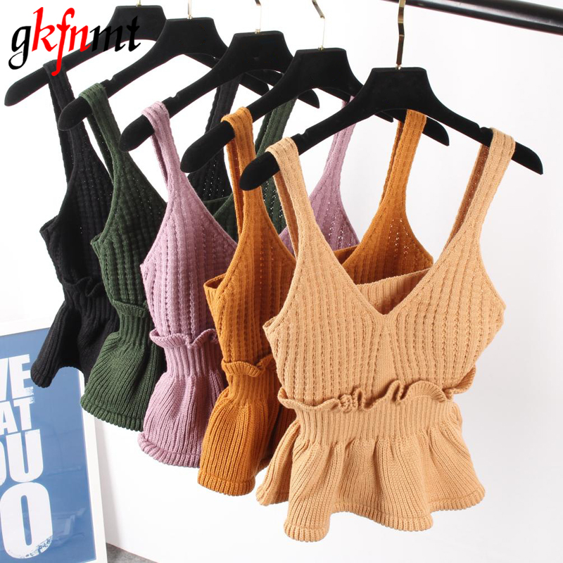 Sexy Stretchable Knit V Neck Crop Cami Tops Աշնանային ոճ 2018 Vogue Plain Women Սեքսուալ սպագետտի ժապավեն Camisole Tank Shirt