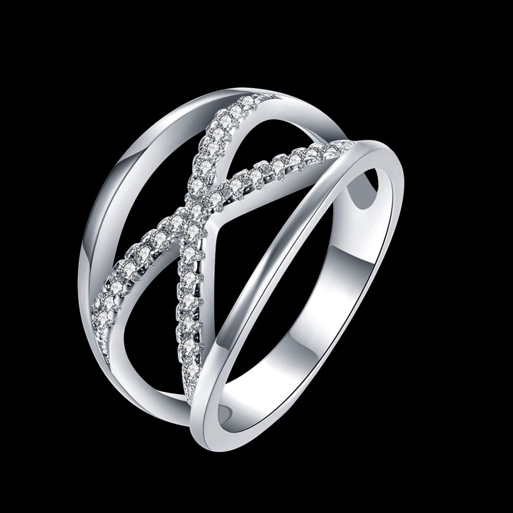 2017 Newest Design 925 pure silver plated Infinite Ring with Micro Paved CZ Fashion Women X shape Cross Ring