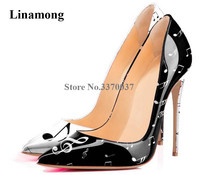 Newest Fashion Women Designer Pointed Toe Patent Leather Printed Stiletto Heel Pumps Musical Notes Printing High Heels Shoes