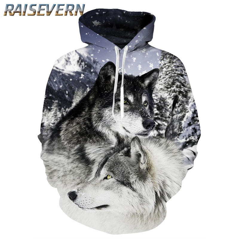 RAISEVERN Animal Snow Wolves 3D Funny Hoodies Brand Sweatshirt Men Hooded Unisex Wolf Male Pullover Fashion Casual Tracksuits