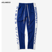 Aolamegs Men Casual Pants Japanese Letter Printing Side Stripe Track Pants Contrast Color Street Fashion Trousers