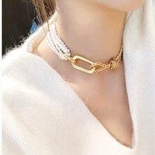 JCYMONG роскошный искусственный жемчуг колье ожерелья для женщин круг цвет золотой заявление ожерелья Мода ключицы цепи колье