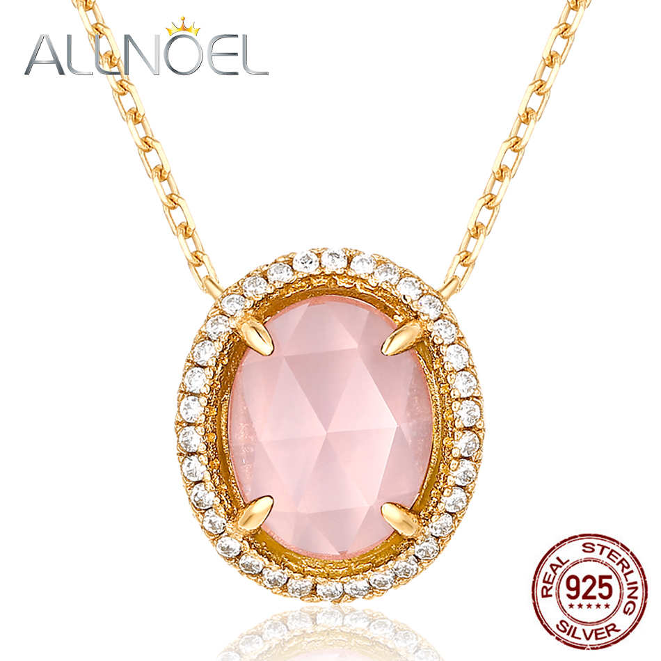 ALLNOEL 925 Sterling Silver Pendants Necklace For Women Natural Gemstone Real Rose Quartz Pink Stone Fine Jewelry Wedding Chains