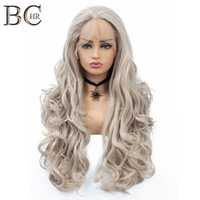 BCHR Long Wavy Handmade Synthetic 13*2 Lace Front Wigs Ombre medium blonde Color Hair For women Free Shipping