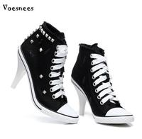 Shoes Woman Spring Boots Canvas High Heels Rivets New Style Lace Up 2018 Autumn Zip Female