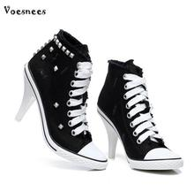 Shoes Woman Spring Boots Canvas High Heels Rivets New Style Lace-Up 2018 Autumn Zip Female Camping Shoes Flat Motorcycle Boots