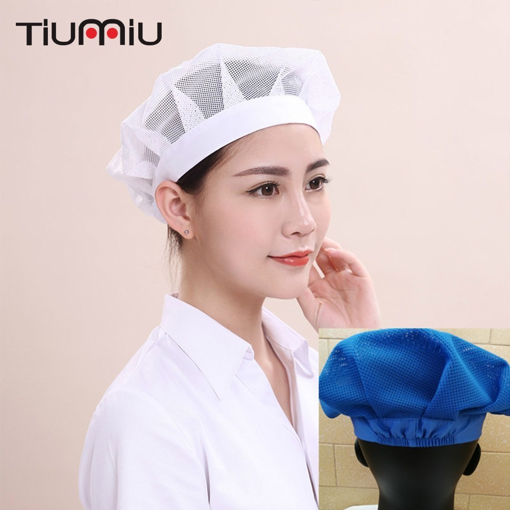 2pcs/lot Men Women Breathable Workshop Cap Kitchen Cook Canteen Dustproof Mesh Caps Restaurant Hotel Bakery Chef Waiter Uniform