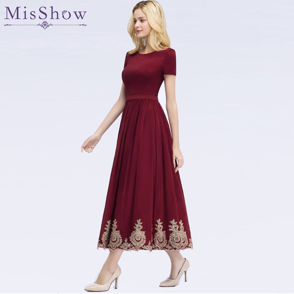 Burgundy Cocktail Dresses with Sleeves