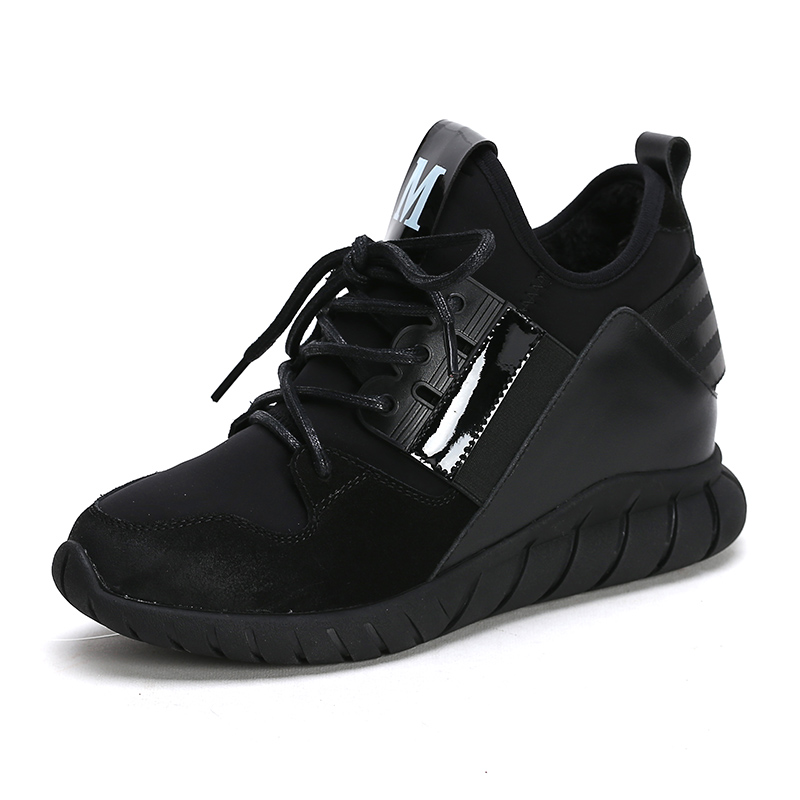 Black Sport Shoes for Women High Tops Hidden Heel Girls ...