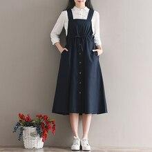 Темно-синие винтажные платья, новинка, женское летнее платье из хлопка и льна на бретельках, без рукавов, до колена, сарафан с карманами