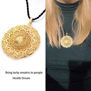 Image 3 - WANDO Dubai Ethiopia Africa India Gold Sun God Good Luck Islam Pendant Necklace Polyester Rope Chain Necklace Jewelry for Women