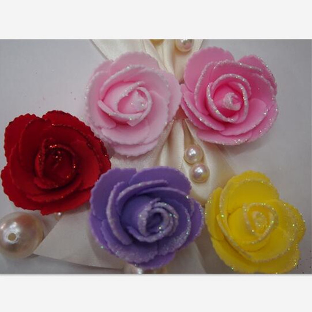 wholesale artificial flowers with imprints of the teeth shining glitter roses 5 cm diy wedding supplies
