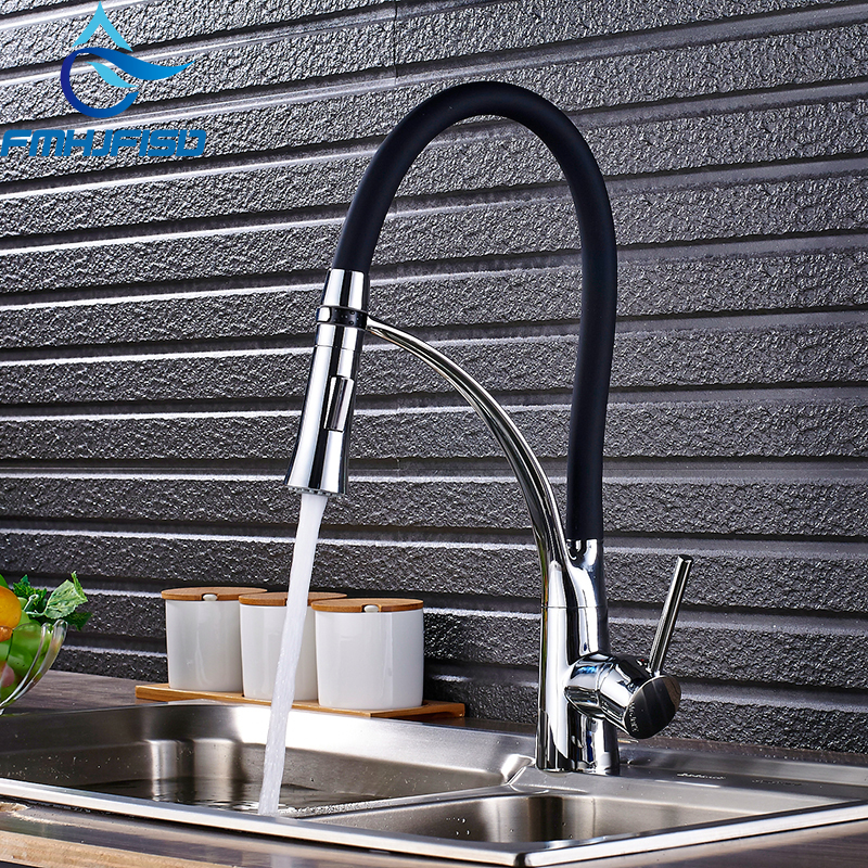 Chrome/Nickel/orb/Gold Rubber Kitchen Faucet Mixer Tap 360 Degree Rotation Pull Down Stream Sprayer Taps