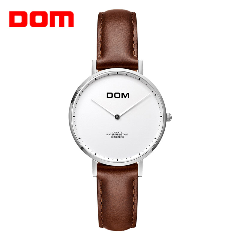 Women's watches DOM Brand Luxury Casual waterproof Leather quartz-Lovers Watch leather strap clock Relogio Faminino G-36L-7MS watch women dom top luxury brand waterproof style sapphire crystal clock quartz watches leather casual relogio faminino g 86l 1m