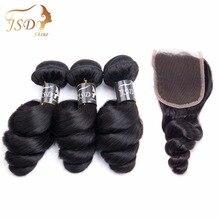 JSDShine бразильские свободные волнистые кружева закрытие часть не Реми 3 сплетение волос натуральный цвет человеческие волосы пучки с закрытием