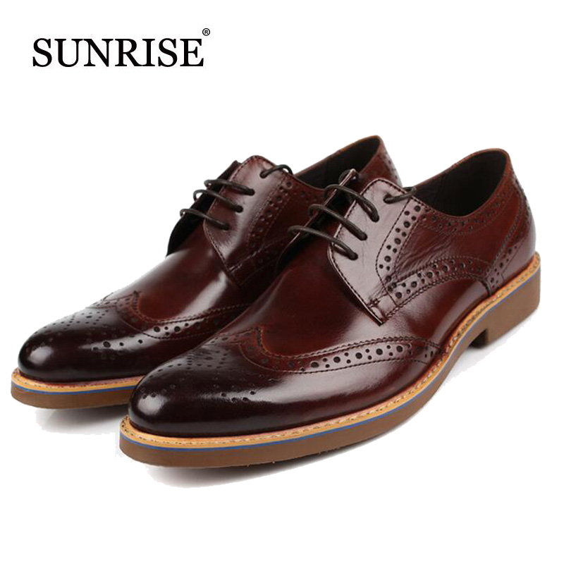 New Arrival Men Genuine Leather Flats Man Pointed Toe Brogue Shoes Lace Up Business Men Dress Shoes formal shoes new arrival fashion rivets men leather shoes men s lace up breathable pointed toe casual shoes low leisure man shoes size 38 44