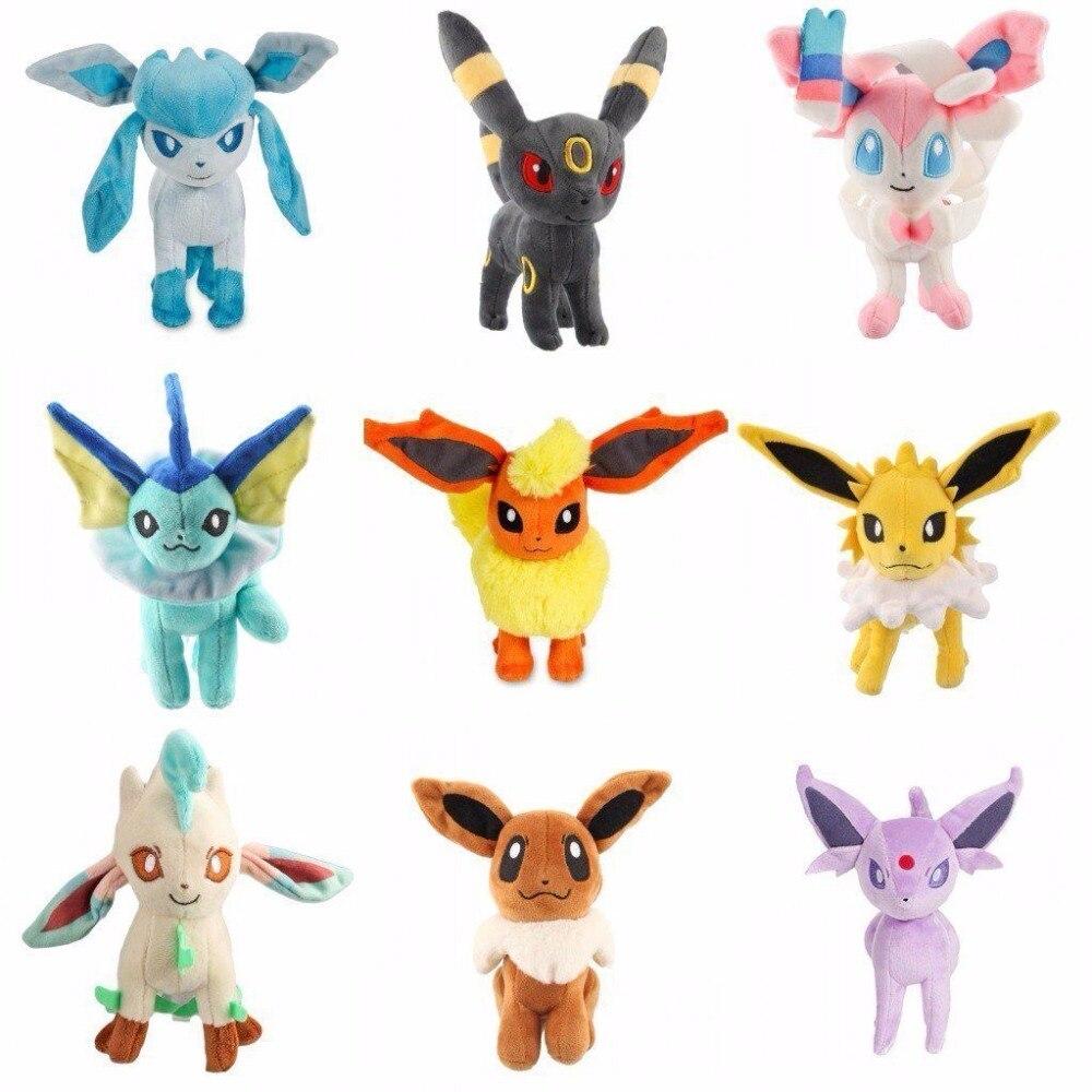 20 cm nouveau Eevee jouets en peluche 9 pièces Umbreon Eevee espéce Jolteon Vaporeon Flareon Glaceon Leafeon pikachu peluches poupée