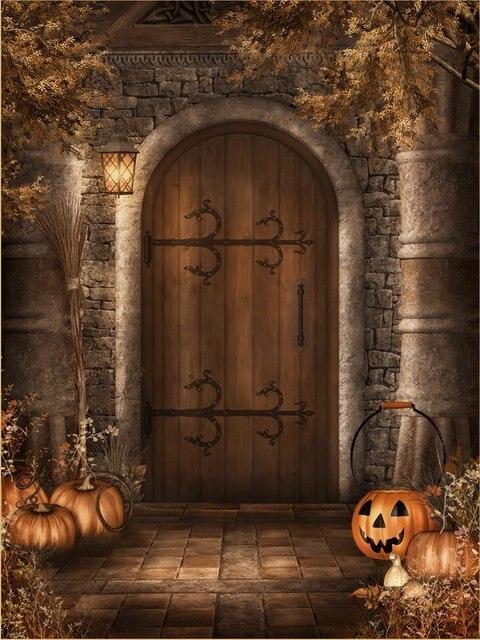 10x10ft vintage stone wall house wooden door pumpkin yard halloween custom backdrop photography studio background vinyl