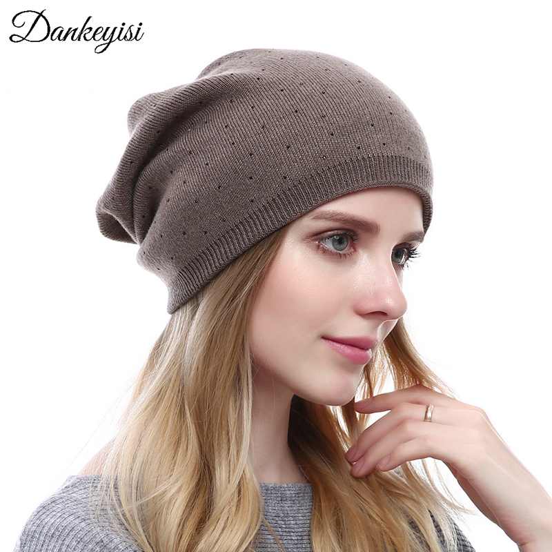 DANKEYISI Cashmere Knitted   Skullies     Beanies   Rhinestone Thick Warm Winter Hats For Women's Caps Soft Fashion Female Casual Hat