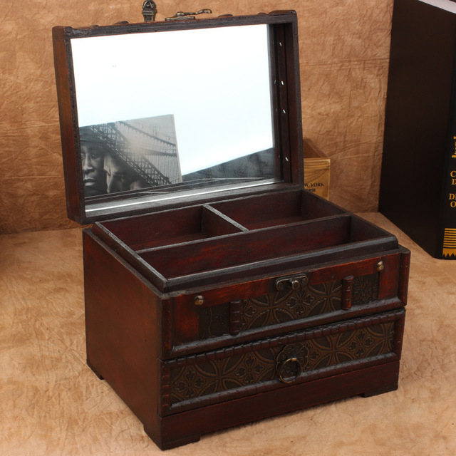 Retro Antique Wooden Vanity Box Retro With Mirror Jewelry Box Pouch