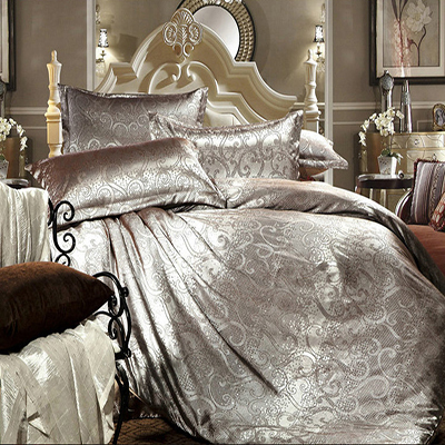 Luxury tribute silk satin jacquard silver bed linen for Exclusive bed linen south africa