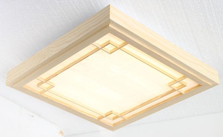 Vintage Ultra thin LED OAK Wood ceiling lamp square ceiling light ...