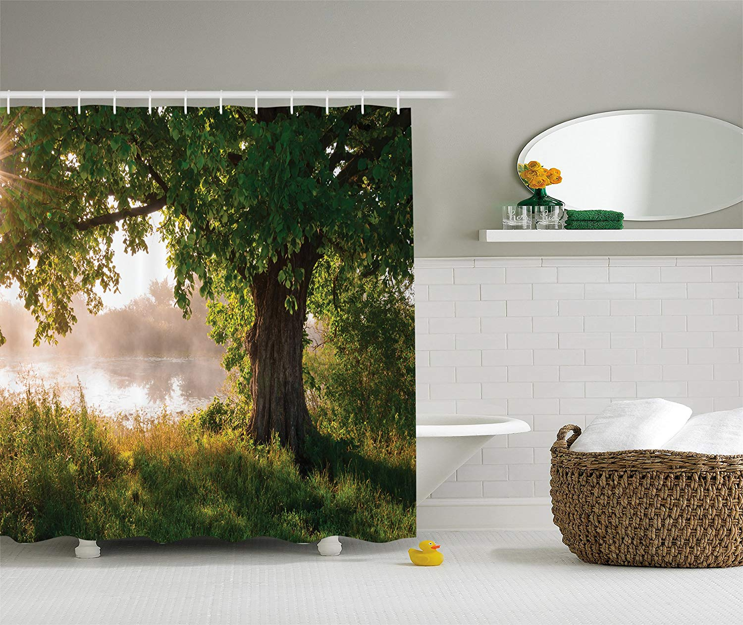 Green Brown Shower Curtain Oak Tree Decor Mystic Landscape Foggy