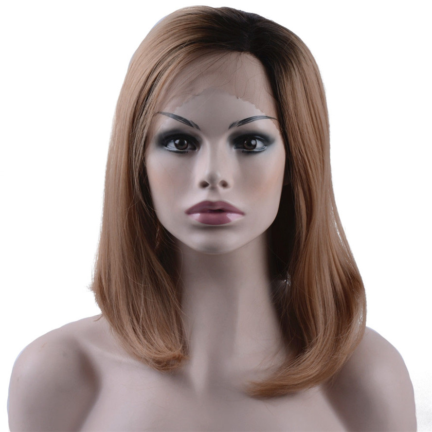 StrongBeauty Synthetic Lace Front Wig Medium Bob Light Brown Wth Dark Root Ombre Heat Resistant Fiber Womens wigs